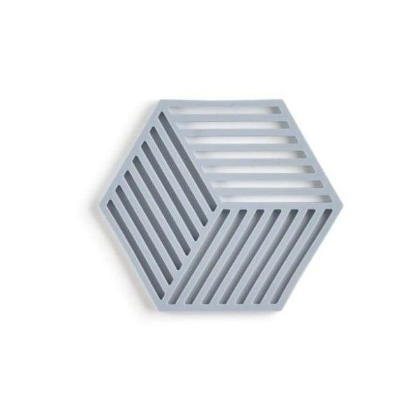 Šedomodrá silikonová podložka pod hrnec Zone Hexagon