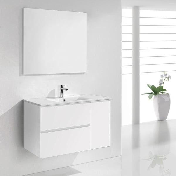 Koupelnová skříňka s umyvadlem a zrcadlem Happy, odstín bílé, 80 cm