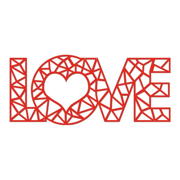 Červená kovová nástěnná dekorace Wall Decor Love