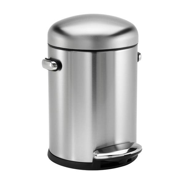 Stříbrný lesklý pedálový koš simplehuman Retro, 4.5 l
