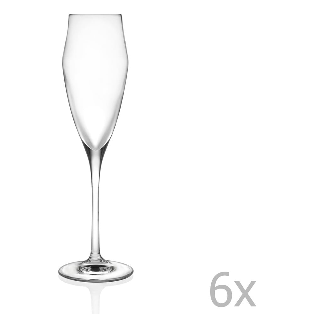 Sada 6 sklenic na sekt RCR Cristalleria Italiana Lalia