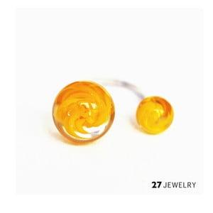 Žlutý dvojitý prsten ze skla Enamor