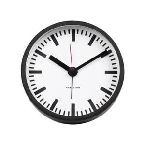 Černé hodiny Karlsson Glass Wood