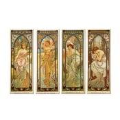 Sada 4 reprodukcí obrazů Times of The Day od Alfonse Muchy, 40 x 100 cm