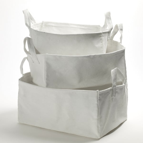 Set 3 bílých plátěných košíků Marie