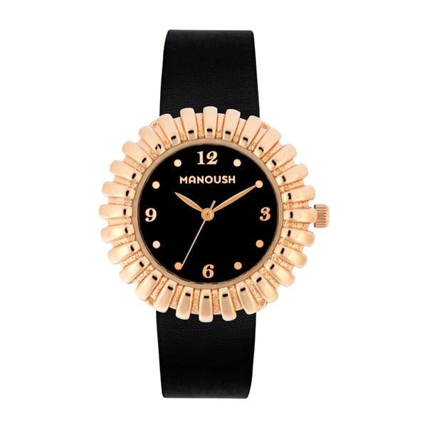 Černé dámské hodinky s koženým páskem Manoush Sunny