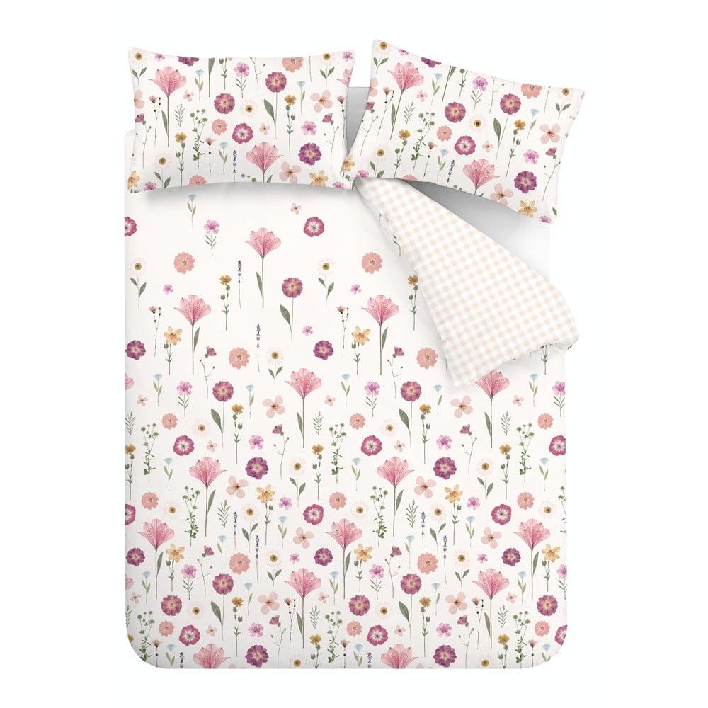 Bílo-růžové povlečení Catherine Lansfield Wild Flowers, 135 x 200 cm