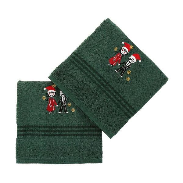 Komplet 2 zielonych bawełnianych ręczników Cift Green
