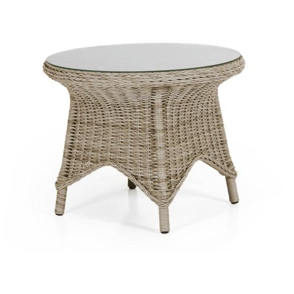 Béžový zahradní stolek se skleněnou deskou Brafab Paulina, ⌀70cm