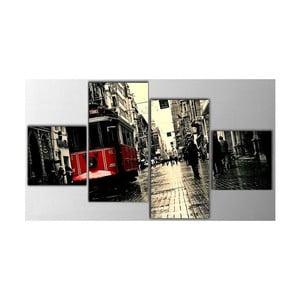 4dílný obraz Old Tram, 50x100 cm