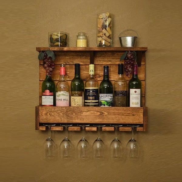 Ručně vyrobený nástěnný držák z masivního dřeva na víno skleničky Catalin Taisia, 70x50x12cm