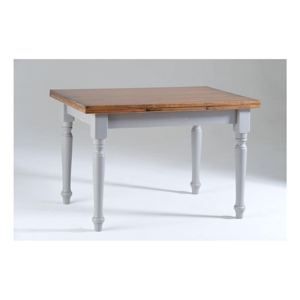Šedý dřevěný rozkládací jídelní stůl s deskou v dekoru ořechového dřeva Castagnetti Corinne, 120x80cm