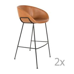 Set 2 scaune bar Zuiver Feston, înălțime scaun 76cm, maro