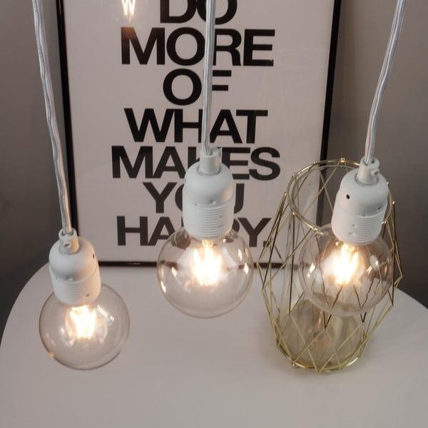 Bílé závěsné svítidlo se 3 kabely Bulb Attack Uno Basic