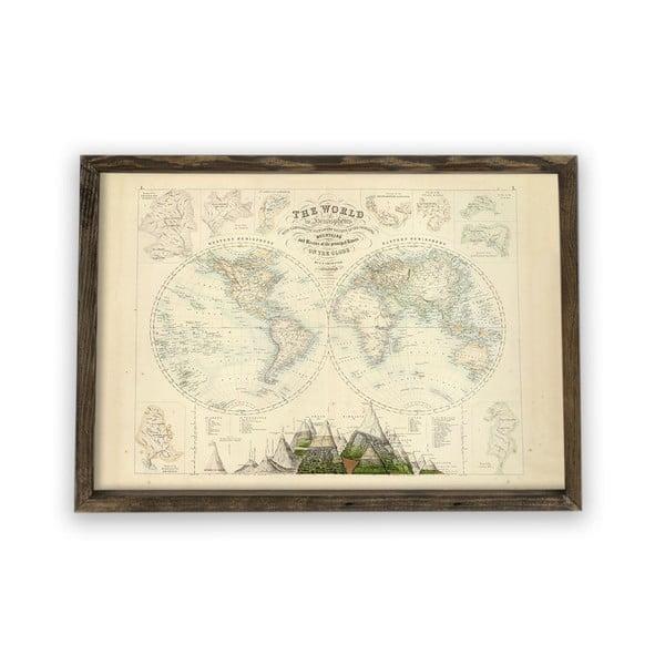 Tablou cu ramă din lemn Globe, 70 x 50 cm