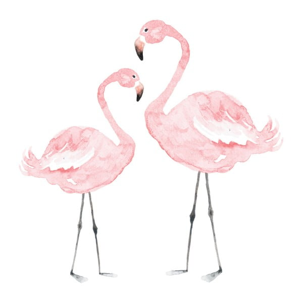Nástenná samolepka Dekornik Flamingos, 110×110 cm