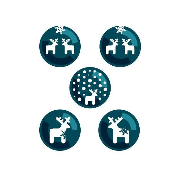 Elektrostatická samolepka Modří jelínci sněžní, 2x5 ks