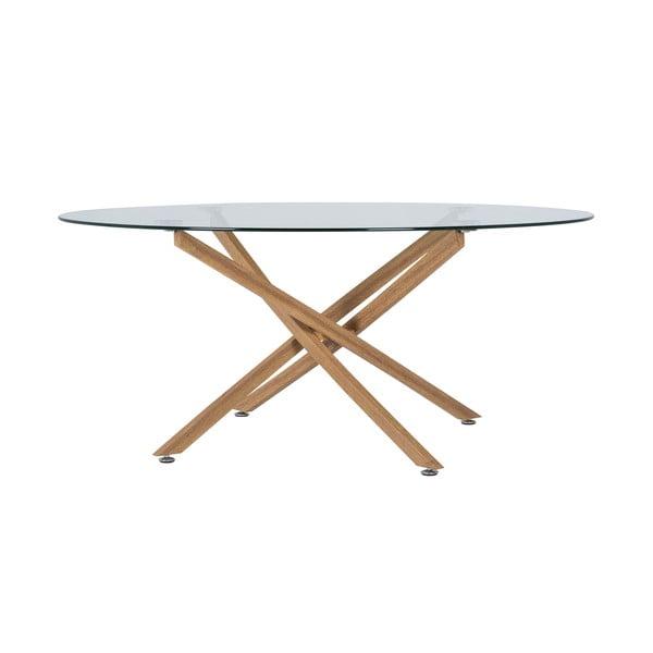 Konferenční stolek se skleněnou deskou Canett Luri, ø 80 cm