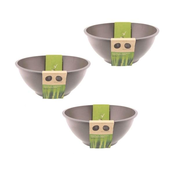 Bambusové misky, set 3 ks, šedé