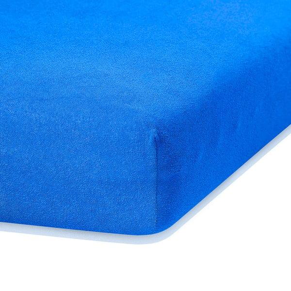 Niebieskie prześcieradło elastyczne z dużym dodatkiem bawełny AmeliaHome Ruby, 200x140-160 cm