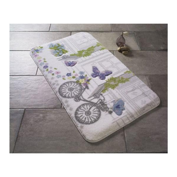 Fioletowy dywanik łazienkowy we wzory Confetti Spilled Flowers, 80x140 cm