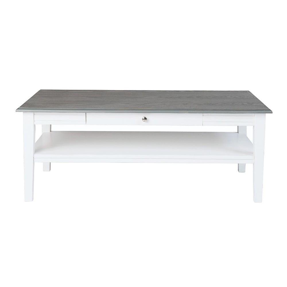 Bílý konferenční stolek s šedou deskou Folke Viktoria, 130x70cm