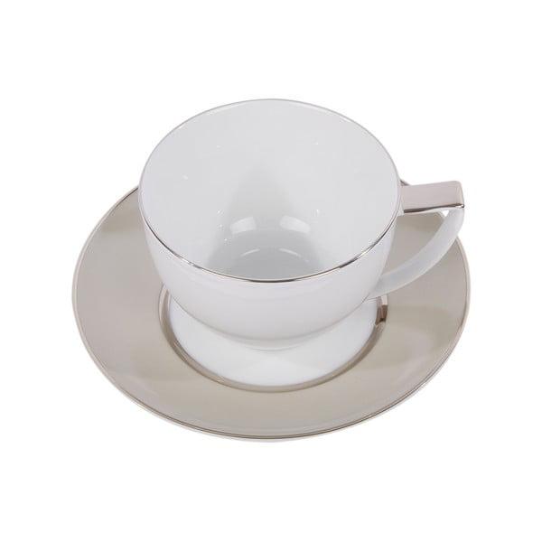 Sada 6 hrnků na čaj s podšálkem Ramponi Pearl Gray