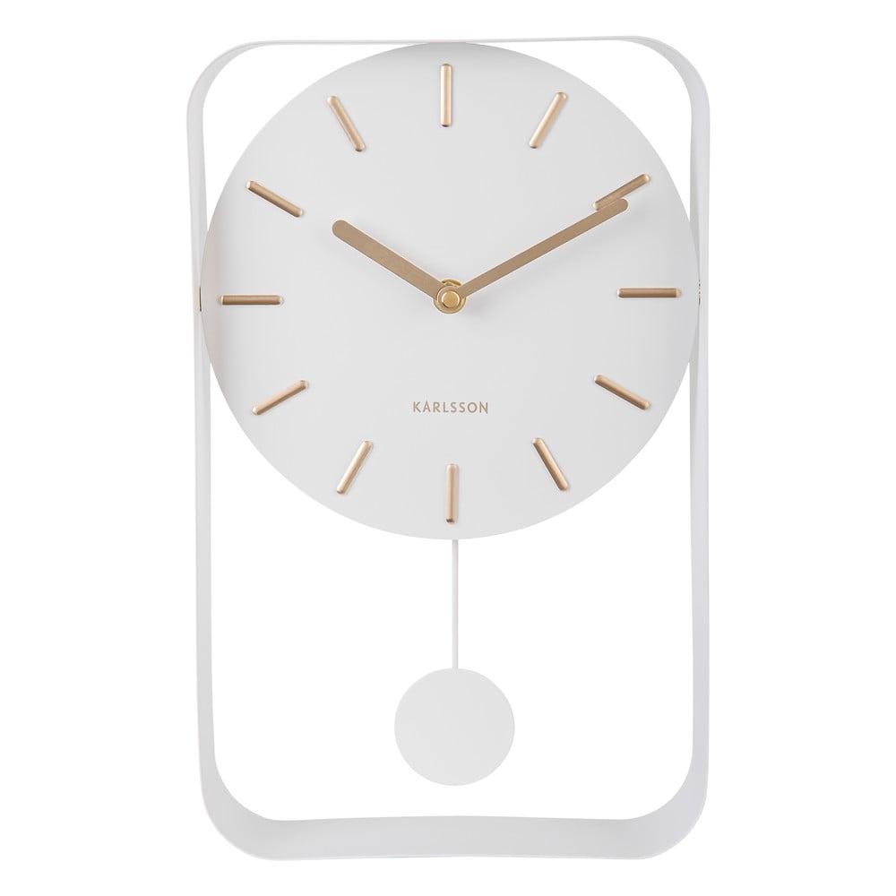 Bílé nástěnné hodiny s kyvadlem Karlsson Charm, výška 32,5 cm