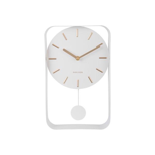 Biały zegar ścienny z wahadłem Karlsson Charm, wys. 32,5 cm