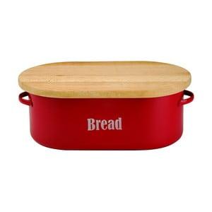 Červený smaltovaný chlebník s prkénkem Typhoon Vintage
