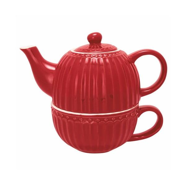 Červená konvice na čaj s hrnkem Green Gate Alice