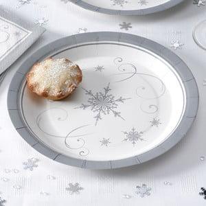 Sada 8 papírových talířů Neviti Shimmering Snowflake