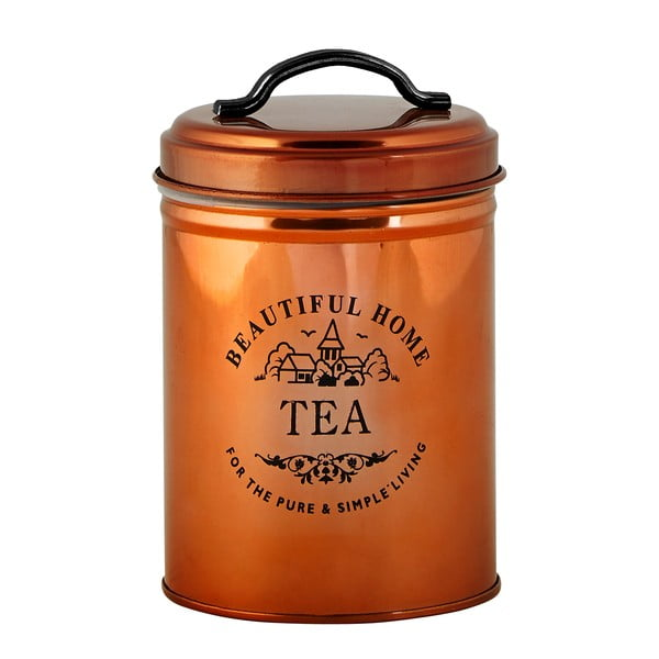 Dóza na čaj v měděné barvě