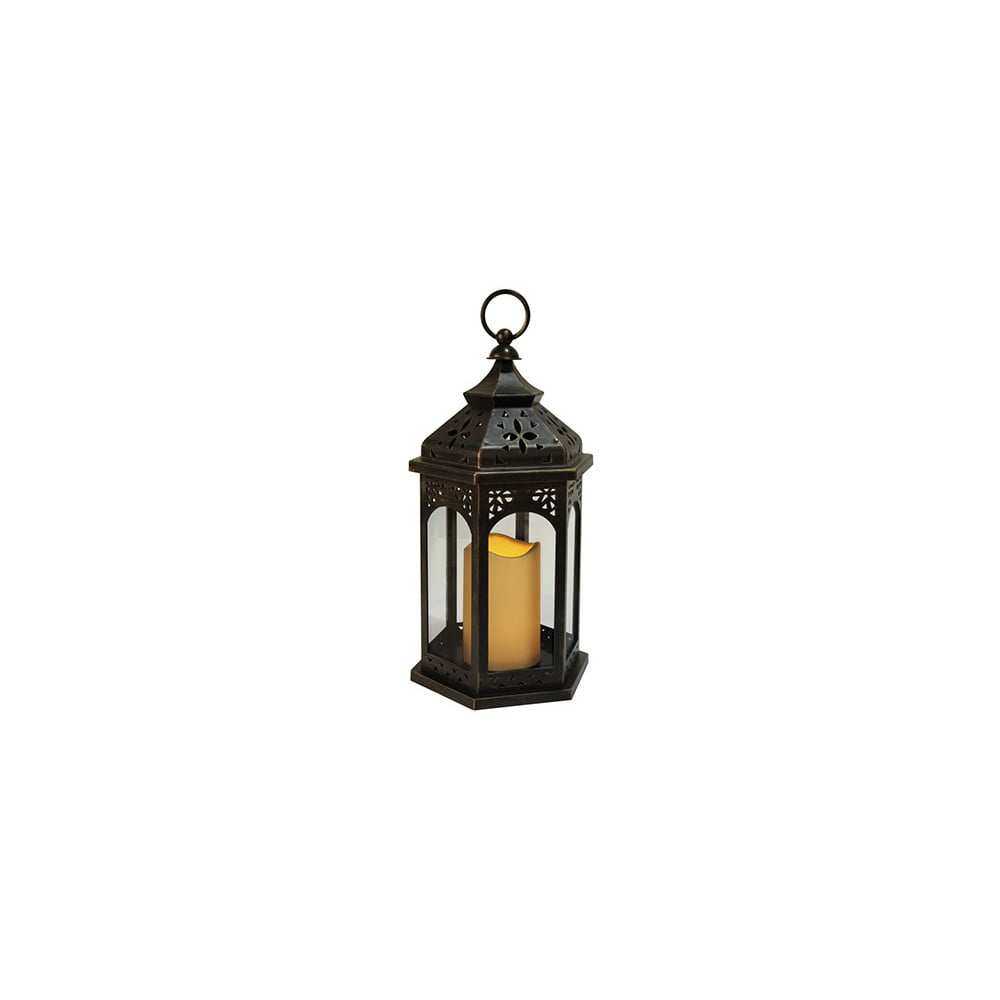 Černá LED lucerna vhodná do exteriéru Best Season Amber