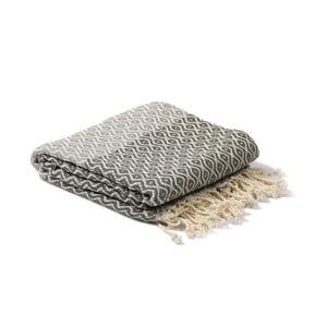 Šedý hammam ručník Spa Time Dot, 95x180cm