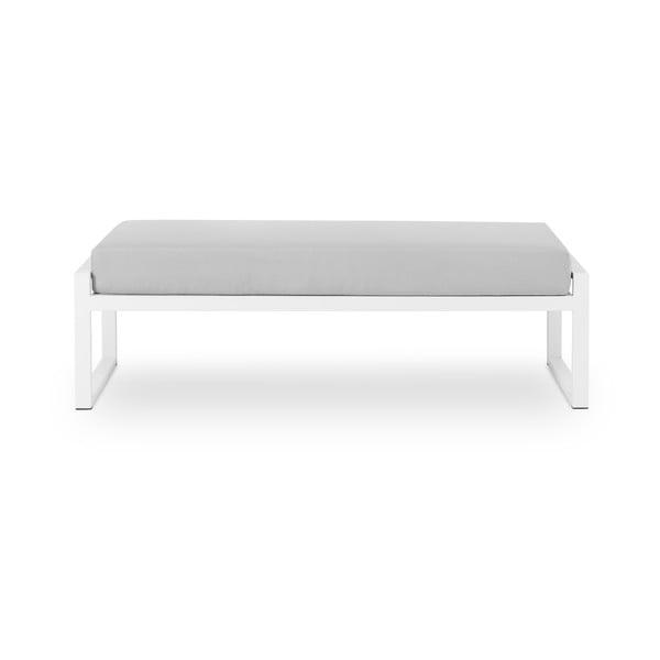Sivá dvojmiestna vonkajšia lavica v bielom ráme Calme Jardin Nicea