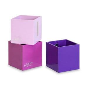 Sada 3 ks velkých magnetických květináčů CUBE, fialová