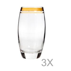 Sada 3 vysokých sklenic s okrajem zlaté barvy Mezzo Adriana, 270 ml
