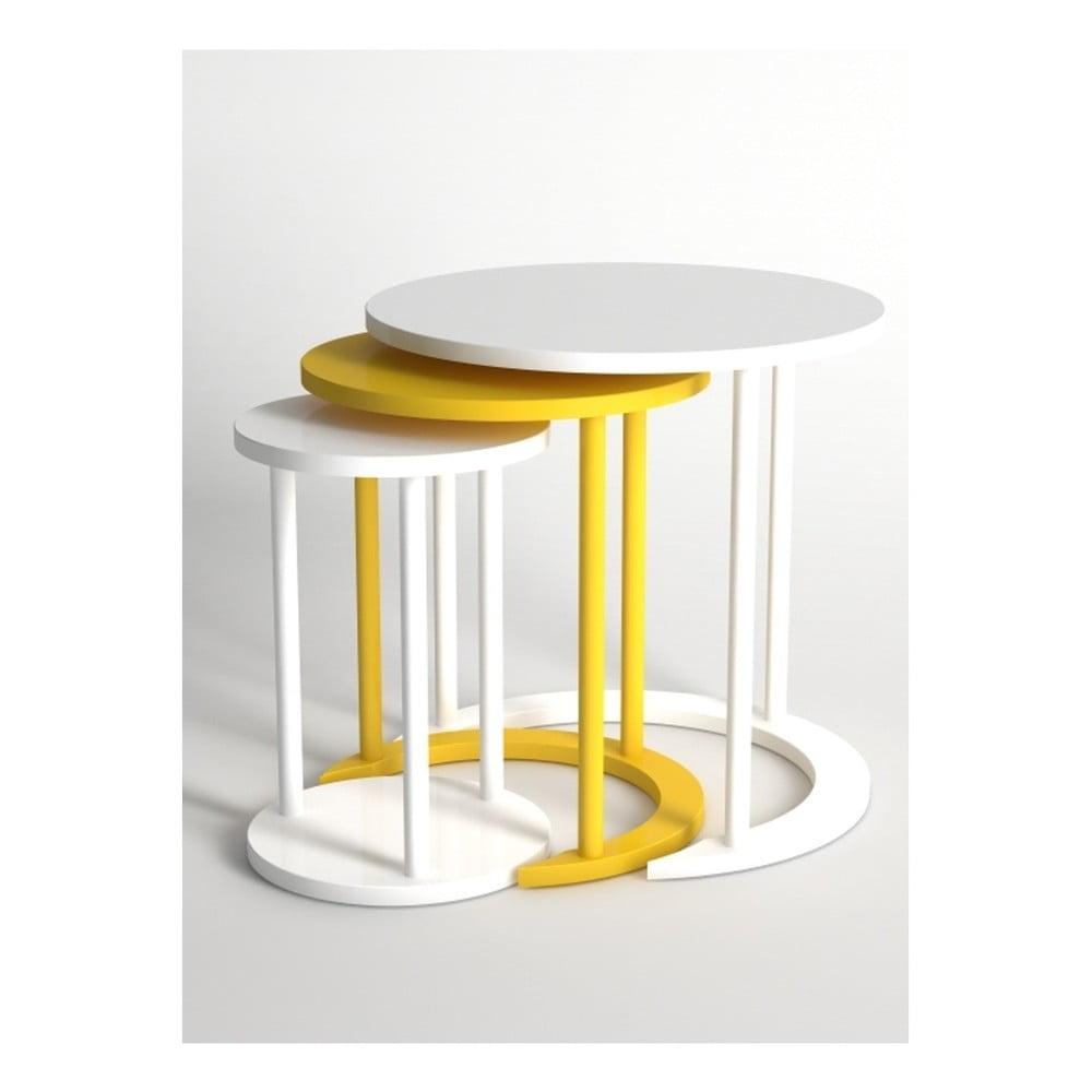 Sada 3 konferenčních stolků v bílé a žluté barvě Monte Cape