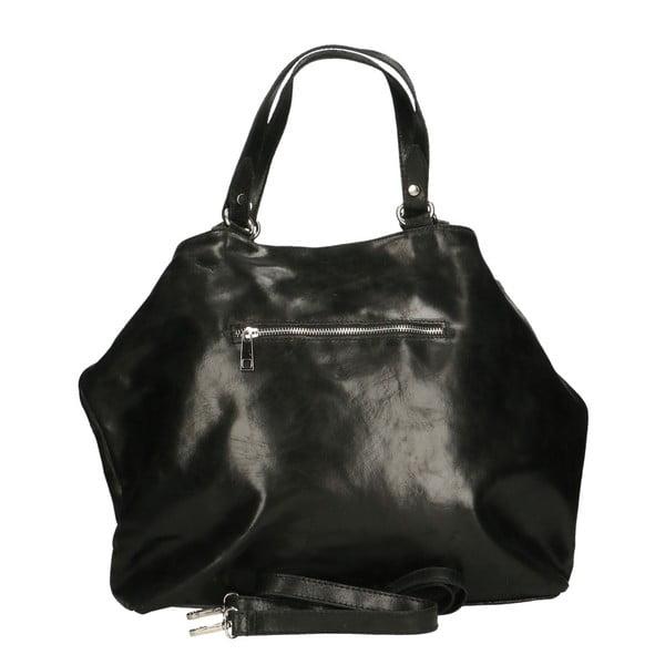 Černá kožená kabelka Chicca Borse Terracia