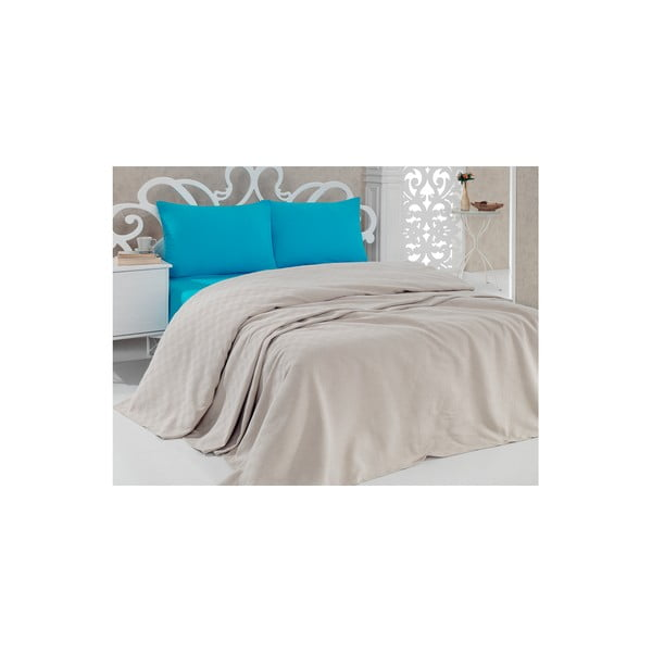 Pique Beige bézs pamut ágytakaró, 200 x 240 cm
