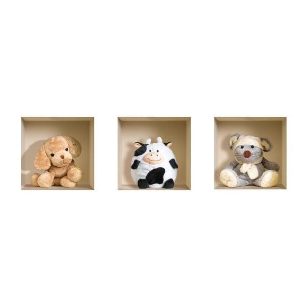 3D samolepky na zeď Nisha Teddy, 3 ks