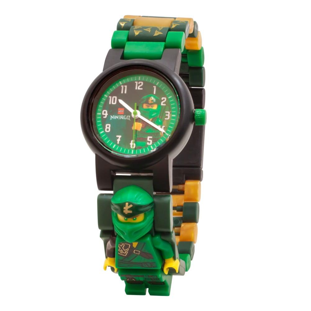 Zelené náramkové hodinky se skládacím řemínkem a minifigurkou LEGO® NINJAGO Lloyd