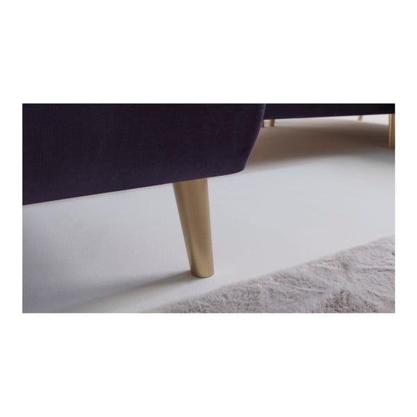 Fialová rozkládací pohovka Bobochic Paris Hera, levý roh