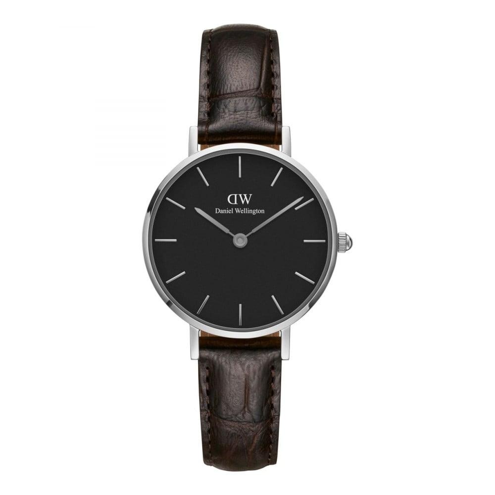 Dámské hodinky s koženým řemínkem a černým ciferníkem s detaily stříbrné barvy Daniel Wellington Petite York, ⌀ 28 mm