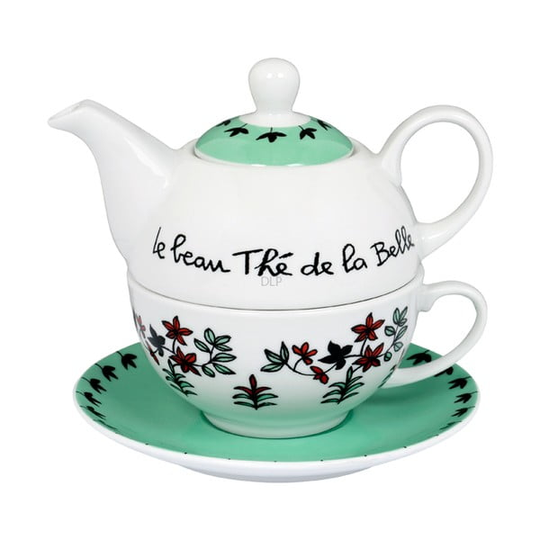 Čajová sada Belle, vert/blanc