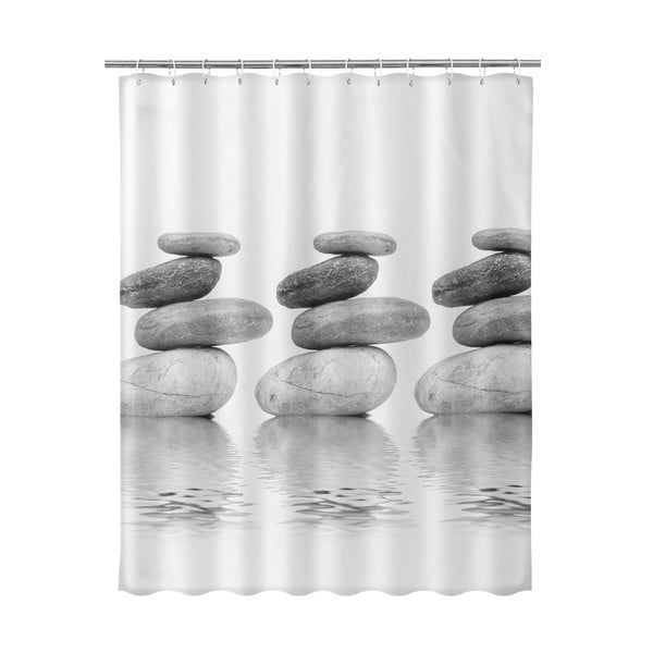 Béžový sprchový závěs Unimasa Stones, 180 x 200 cm