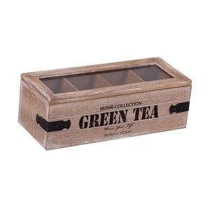 Dřevěný box se 4 přihrádkami na čaj Green Tea