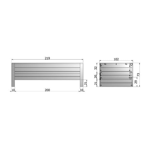 Ocelově šedá postel/sofa De Eekhoorn Dennis 90x200cm