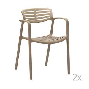 Sada 2 béžových zahradních židlí s područkami Resol Toledo Aire